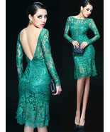 Emerald Green Backless Lace Cocktail Dress. Gre... - $95.90