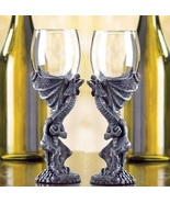 2 Dragon Stem Wine Glass Goblets - $28.00