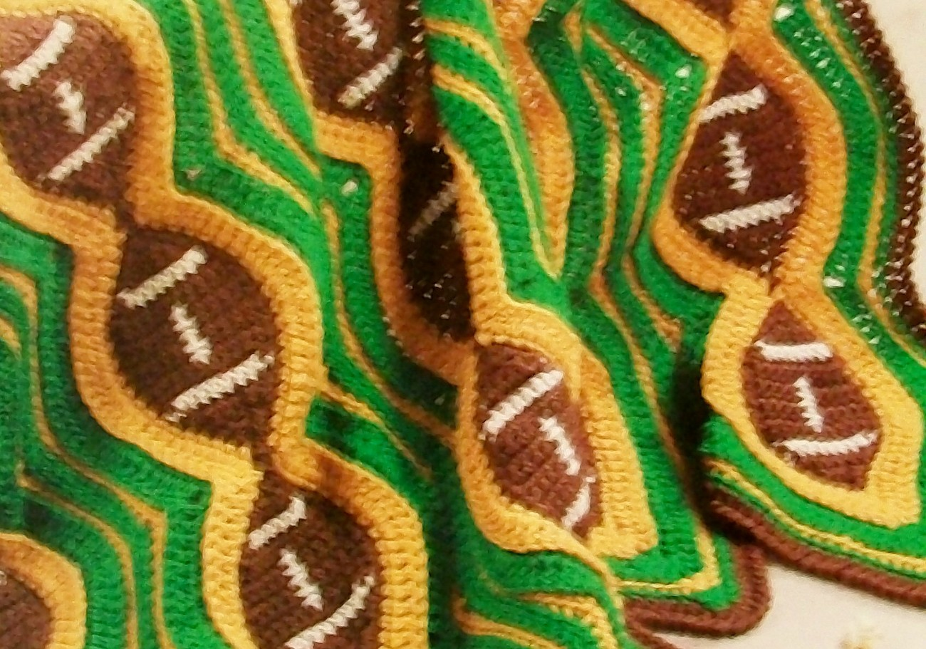 Crochet Pattern For Football Blanket : Football Afghan Lapghan Throw Stadium Blanket, warm at the ...