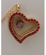 Heart Glass Golden Locket Necklace Living Memor... - $12.99