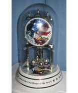 Patriotic Glass Dome Mantle shelf Clock America... - $67.77