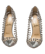 Christian Louboutin Silver PVC and Leather Spik... - $595.00