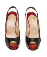 Christian Louboutin Black Leather Red Peep Toe ... - $325.00