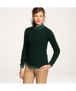 J. Crew L Honeycomb Cable Sweater Pine Bough Gr... - $39.00