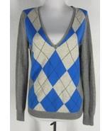 J.CREW Argyle Boyfriend Sweater M 8 Deep Vee Ne... - $24.99