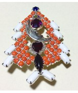 Christmas Tree Pin Brooch HUGE  Unique Moon Hea... - $53.90