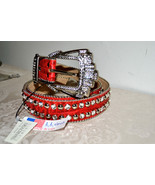 NWT $255 BB Simon Wide RED Textured Leather Bel... - $117.50