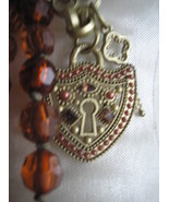 Amber Chunky Necklace Earring Lock & Key Set  S... - $20.00