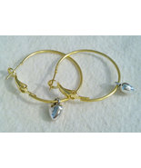 1.5 Inch Gold Plated Hoop Earrings With Silver ... - $7.99