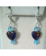 Glass Heart With Blue Swarovski Crystal Heart D... - $14.99
