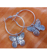 1 Inch  Silver Plated Butterfly Hoop Earrings   - $9.99