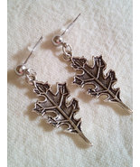 Pretty Tibetan Silver Leaf Earrings With Stainl... - $10.99