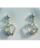 Pretty Heart Wing Stud Earrings Stainless Steel... - $12.99