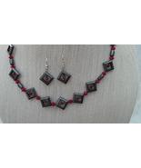 Hematite Swarovski Necklace Earrings Red  Handmade - $42.99