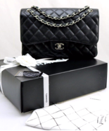CHANEL Black CAVIAR Quilted Leather Classic Jum... - $4,839.12