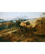 The Elk by Charles Russell Wildlife Animal Moun... - $266.31