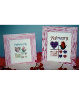 CLEARANCE February Squares OOP cross stitch cha... - $3.00