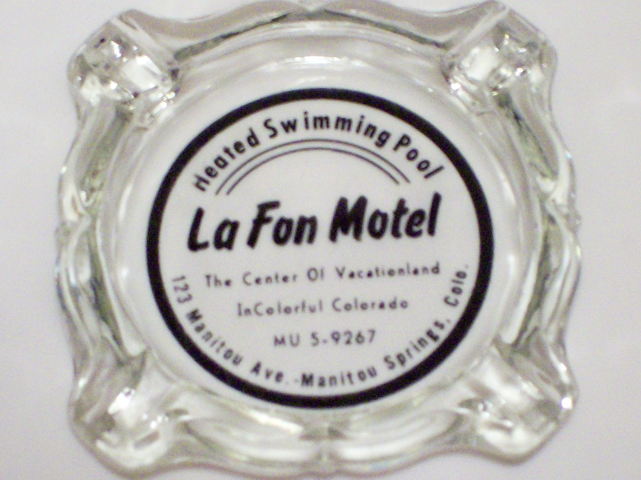 Vintage Ashtray LaFon Motel Manitou Springs Colorado