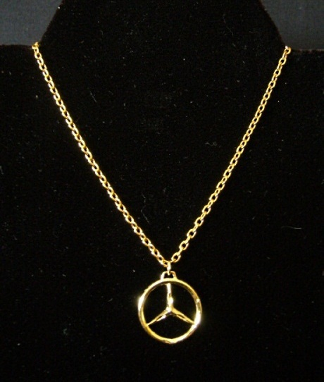 gold plated mercedes benz emblem necklace circle