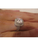 SILVER TONE CUBIC ZIRCONIA RING-SIZE 6??-5/8