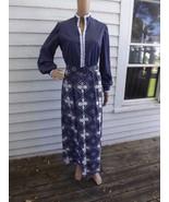 1970s Hippie Dress Blue Print Country Maxi Long... - $9.99