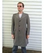 Vintage Mens Coat 70s Long Herringbone Brown Be... - $49.99