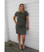Vtg 60s Green Dress Mod Short Sleeve Dark Olive... - $9.99