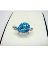 925 Sterling Silver Ring Hawaiian Blue Opal Turtle - $18.00
