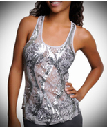 Sheer Lace Tank Top with Silver Sequins - $18.99