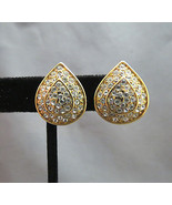 Monet Rhinestone Earrings Comfort Clip Gold Pla... - $19.78