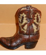 Western Cowboy Boot Resin Collectible Brown Boo... - $10.99