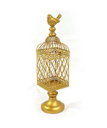 Vintage Style Gold Metal Bird Cage.5'' x 18.5''H. - £64.45 GBP