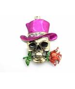 Skull Top Hat Pink Pendant Women Necklace Silve... - $13.83