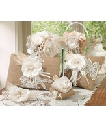 Burlap Lace Wedding Accessories Set Guest Book,... - $91.89