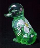 Fenton Art Glass Duckling Figurine Green Floral... - $34.95