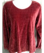 Hunt Club Maroon Velveteen Shirt Large Gently W... - $9.99
