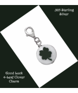 Green 4 Leaf Clover Charm with Sterling Silver ... - $14.97