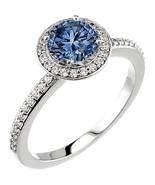 4.01 ct. Round blue & white diamonds wedding ri... - $8,019.00