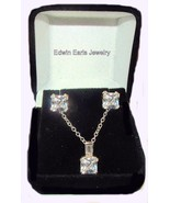 4.50ct Asscher Cut Cz Earrings & Necklace Set S... - $29.69