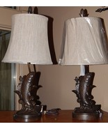 1 Sable Fish Table Lamp Brown Tone Resin w Line... - $38.60