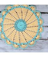 Lovely Crocheted Retro Style Peach Aqua Doily T... - $14.00