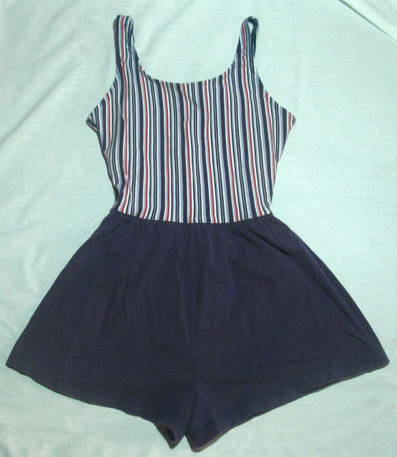 Vintage 40s 50s Purple Red White Striped Romper Swimsuit Pinup Retro Rockabilly