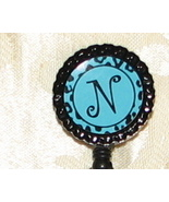 Initial ID badge holder w/ retractable reel-turquoise