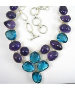 Abstract Ice Blue Topaz with Purple Amethyst Ca... - $265.92