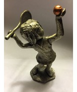 Hudson Pewter Girl Playing Tennis Racket Ball - $15.84