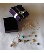 Hollow Filigree SP Cage 11 Gemstone Necklace 92... - $14.99