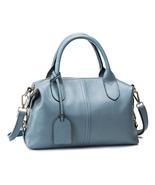 Medium Size Minimal Casual Chic Light Blue Genu... - $173.90