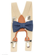 Blue Denim Clip On Bow Tie and Khaki Elastic Su... - $18.95