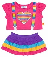 Build a Bear Colorful Rainbow Suspenders Heart ... - $48.95