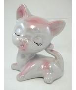Ceramic Iridescent White and Pink Kitty Cat Fig... - $5.73